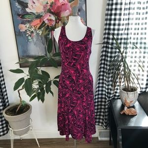 Banana Republic pink tropical botanical dress